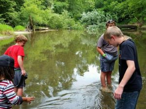 Kids wade in the water during a previous Camp Prairie Creek. Photo by Jason Donati